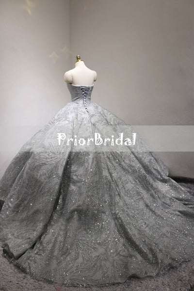 Sparkly Light Grey Silver Sequin Princess Ball Gown Gorgeous Wedding Dresses. RG0402