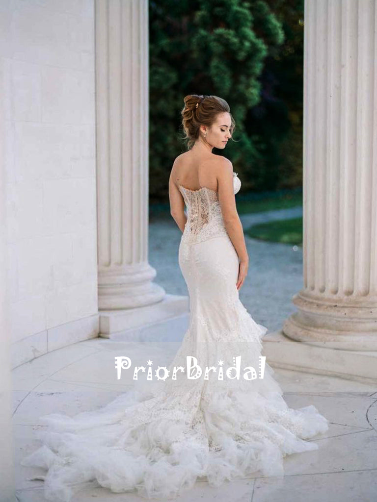 Stunning Lace Sweetheart Strapless Mermaid Wedding Dresses With Tiered Train, RG0422