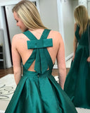 Teal Satin Simple V-neck Bow Knot Prom Dresses ,PB1070