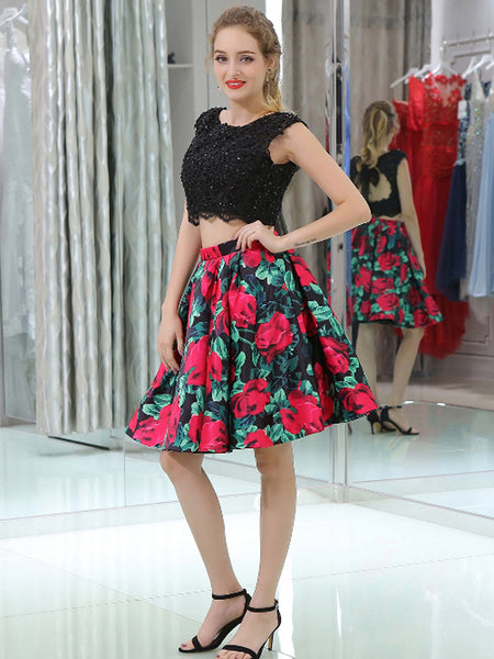 Two Piece Black Lace Floral Prints Open Back Homecoming Dresses, BD00231
