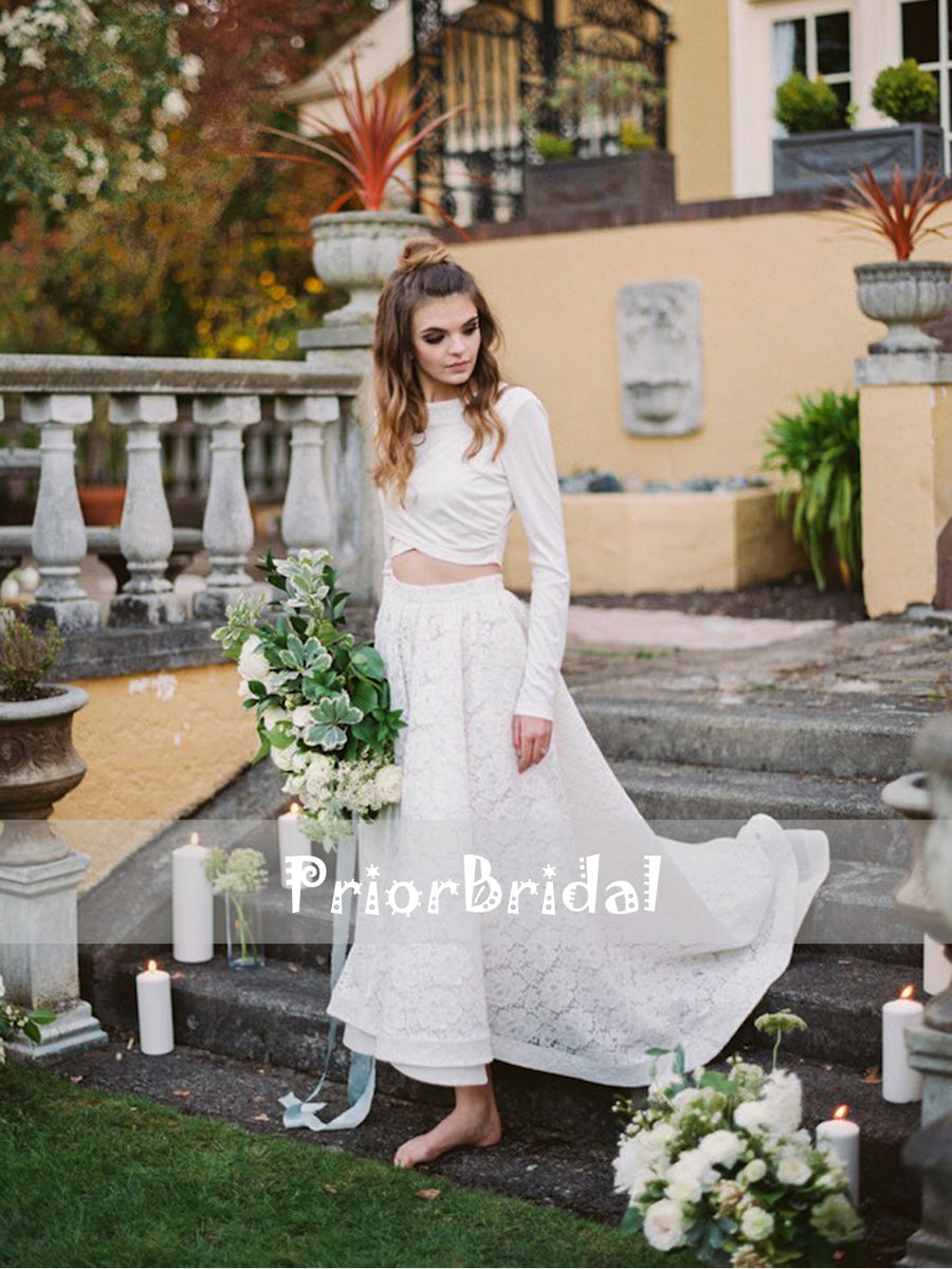 29685dfe8cfd Two Piece Unique Boho Wedding Dresses With Long Sleeves. RG0415 –  PriorBridal