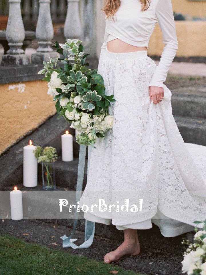 Two Piece Unique Boho Wedding Dresses With Long Sleeves. RG0415