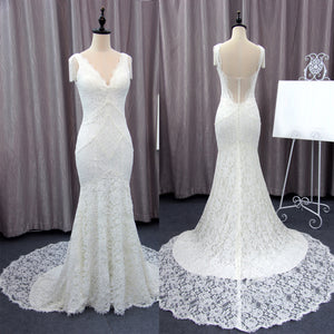 Unique Cap Sleeves V-neck Ivory Lace Mermaid With Train Wedding Dress. RG0401