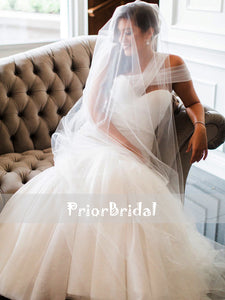 Unique One Shoulder Ivory Pleating Tulle Mermaid Cheap Wedding Dresses, RG0418