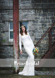 Vintage Fully Lace Gorgeous Mermaid Wedding Dresses With Long Sleeve. RG0408