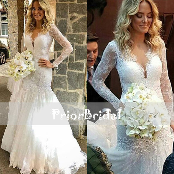 Vintage Lace Mermaid Long Sleeve Elegant Formal Wedding Dresses. RG0409