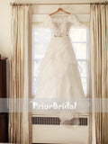 Vintage Lace Top Organza A-line Off Shoulder Wedding Dresses With Short Sleeves, RG0424