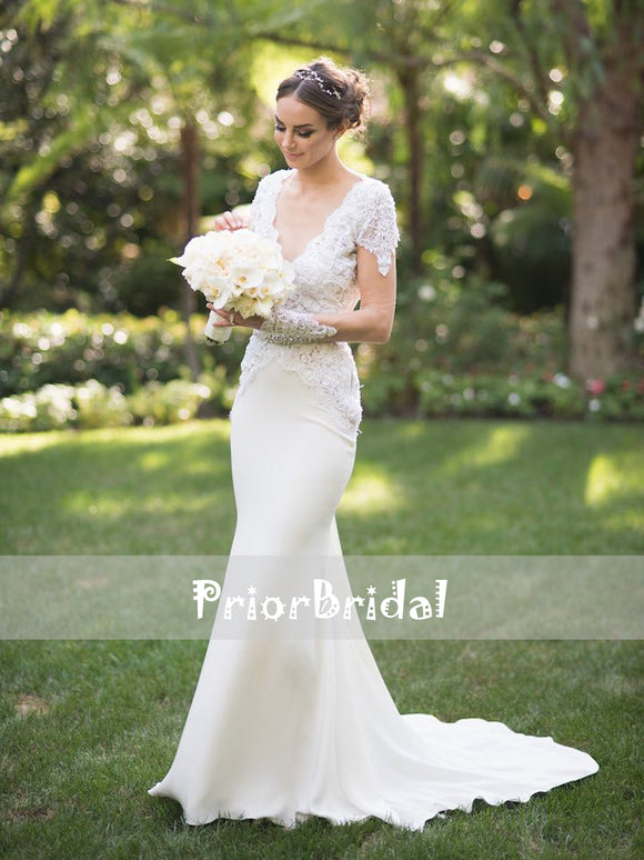 Vintage Lace With Beads Cap Sleeves Backless Mermaid Wedding Dresses. RG0412