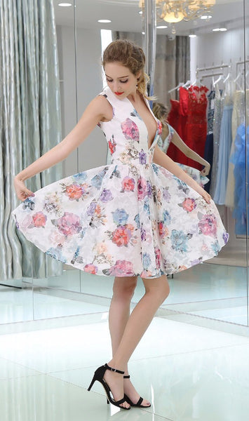 White Floral Prints V-neck Homecoming Dresses, BD00232
