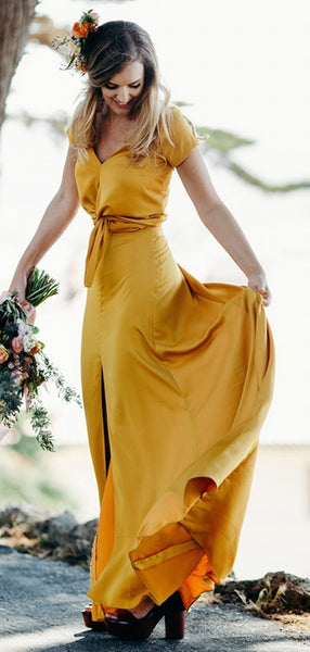 Yellow Short Sleeve Front Slit A-line Long Bridesmaid Dresses,PB1071