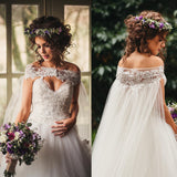 Watteau Train Strapless Lace Tulle A-line Wedding Party Dresses, WD0036