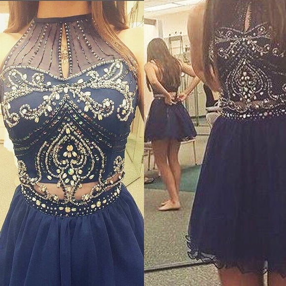 A-line High Neck Sleeveless Beaded Sequin Mini Homecoming  Dresses, BD00191