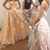 Gorgeous Handmade Flowers Appliques Sweetheart Strapless Ball Gown Prom Dresses,PB1043