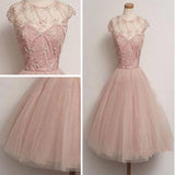Vintage  A-line Pink Lace Beads Tulle Zipper Back Sleeveless Round Neckline  Knee-length Homecoming Dress, BD00194