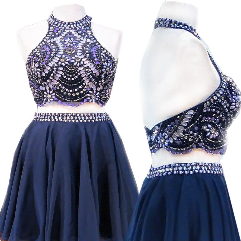 Two-piece Sleeveless Halter Low Back Rhinestone Beaded Sequin  Homecoming  Dresses, BD00192