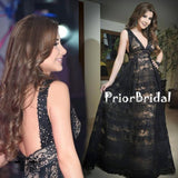 Fashion Black Lace V-neck Backless Elegant Sleeveless A-line Prom Dresses,PB1044