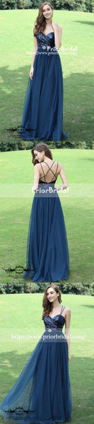 New Arrival Navy Sequins Spaghetti Strap Criss-Cross Back Sweetheart A-line Bridesmaid Dresses,PB1018
