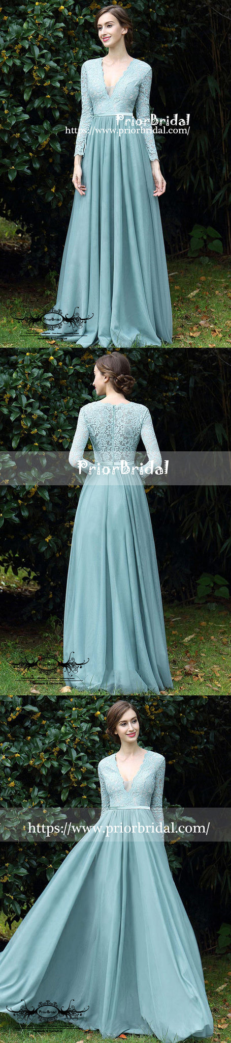 d76ae8898711 ... Long Sleeve Tiffany Blue Lace Top Chiffon V-neck A-line Bridesmaid  Dresses