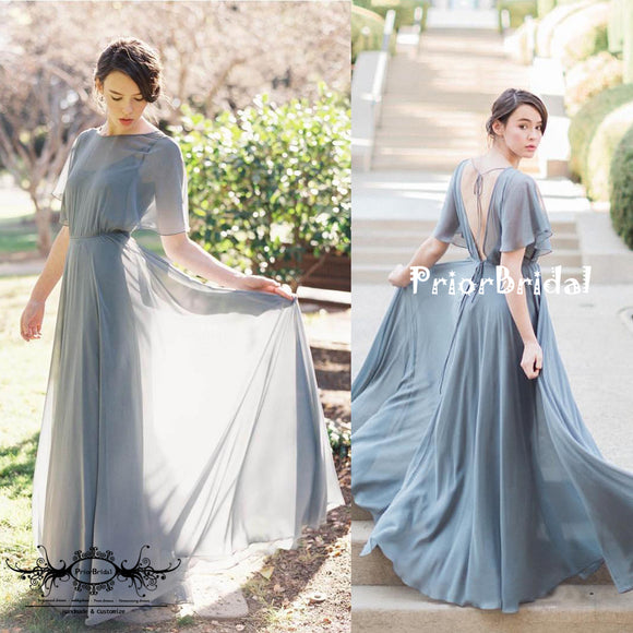 Elegant Grey Chiffon  Spaghetti Strap Shawl Sleeve Backless  Bridesmaid Dresses,PB1020