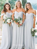 Elegant Off-The-Shoulder Beadings Blue Bridesmaid Dress KB1104