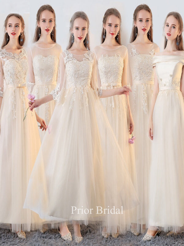 Ivory Temperament Mismatched With Lace Applique Bridesmaid Dress KB1119