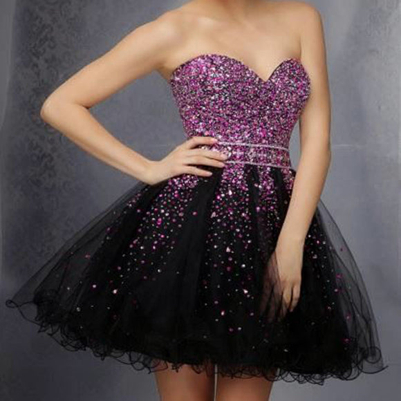 Elegant Sweetheart  A-line Sash Sequins  Beads Tulle  Sleeveless Purple  Mini Homecoming Dress, BD00195