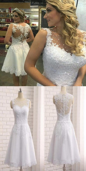 Short Knee Length Sleeveless Lace  Applique Sequins Rhinestone Cute Wedding Party Dress. RG0188