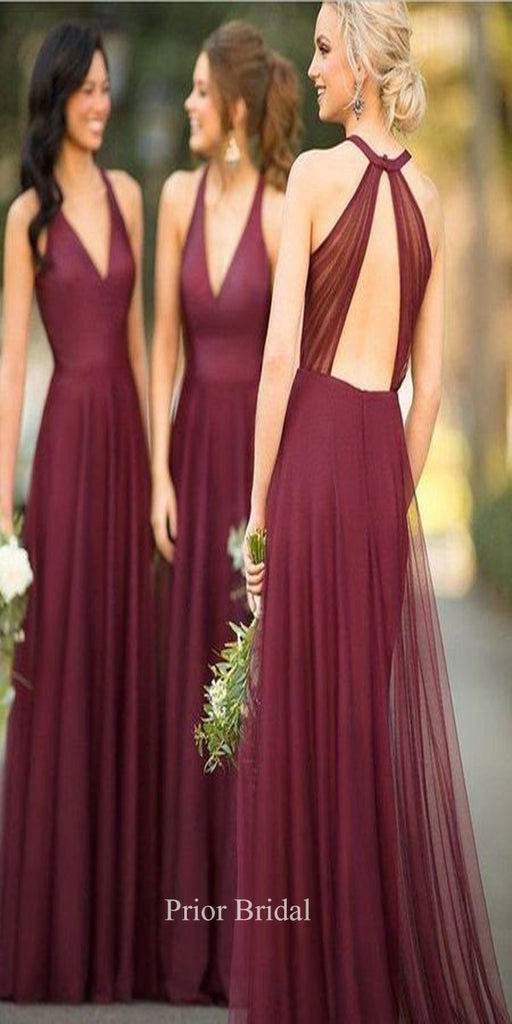 Beautiful Sleeveless V Neck Open Back Long Bridesmaid Dress KB1125