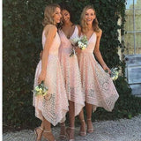Tea-length Full Lace  Spaghetti Straps V-neck Pink Hot Sale Bridesmaid Dress. RG212