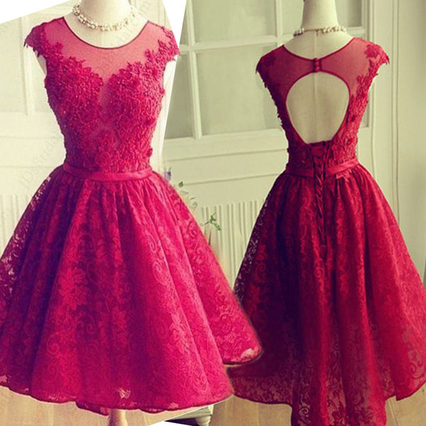 Round  Neckline  Lace Cap Sleeve Lace Up Back Open Back Sweetheart  Knee Length Homecoming Dress, BD00200