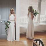 Two Pieces Cheap Simple Satin Elegant Sleeveless Slit Back Wedding Dresses, WD0180