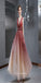 Gorgeous A-line Deep V-neck Open Back Glitter Tulle Prom Dress KB1115