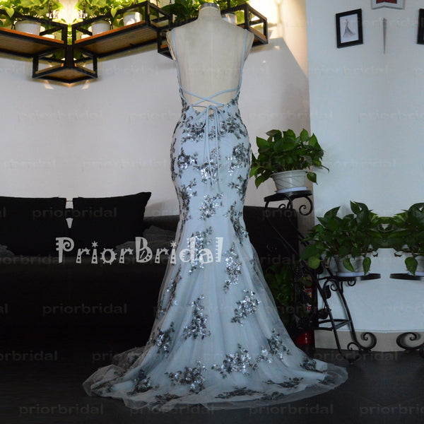 Newest Gray Silver Sequins Lace Applique Sexy Mermaid Lace Up Back Long Prom Dresses,PB1013