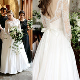 Convertible Long Sleeve Sweetheart Strapless Lace Chiffon Wedding Dresses Bridal Gown, WD0154
