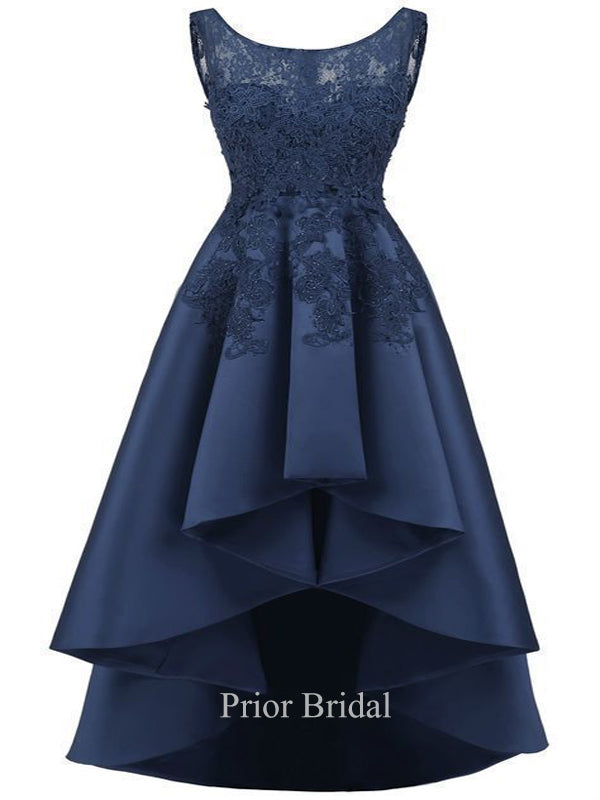 Navy Blue Sleeveless Lace High Low Prom Dress KB1127