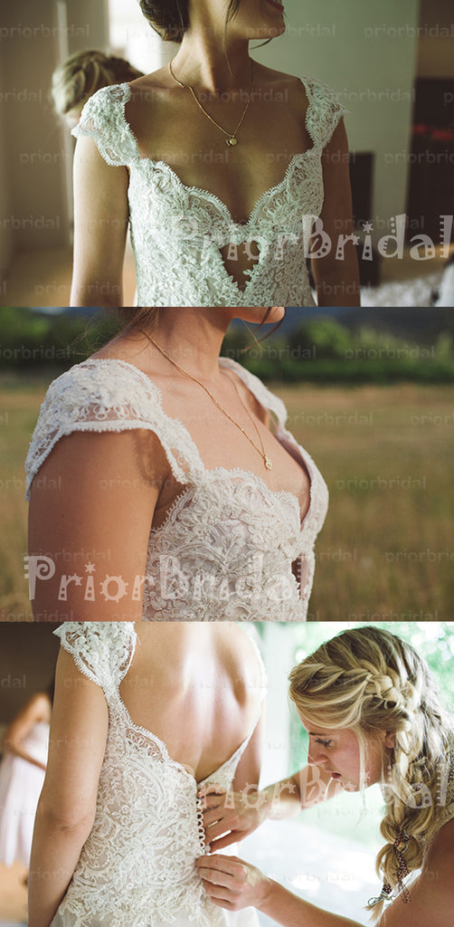New Cap Sleeve Charming Lace Top Backless  Chiffon A-line Wedding Dresses. RG0020