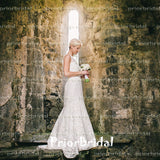 Newest Off White Full Lace Sleeveless  V-Back Vintage Wedding Dresses. RG0028