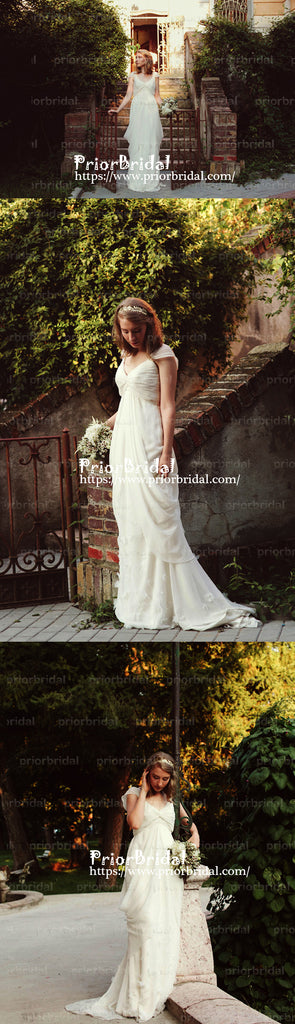 Unique Vintage Ivory Chiffon Cap Sleeve Pleating V-neck Country Wedding Dresses. RG0150