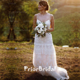 Charming Spaghetti Strap Lace Backless V-neck Country Wedding Dress, RG0191