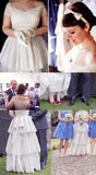 Vintage Tiered Lace Short Sleeve Off Shoulder Long A-line Wedding Dresses, WD0178