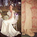 New One Shoulder Sleeveless Mermaid Off White Gorgeous Wedding Dresses. RG0016