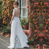 Newest Unique Colorful Sequins White Chiffon V-neck Backless Prom Dresses Cheap Wedding Dress, WD0068