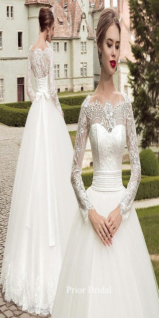 Vintage Long Sleeves Appliqued Lace Up With Bow Long Wedding Dress KB1117