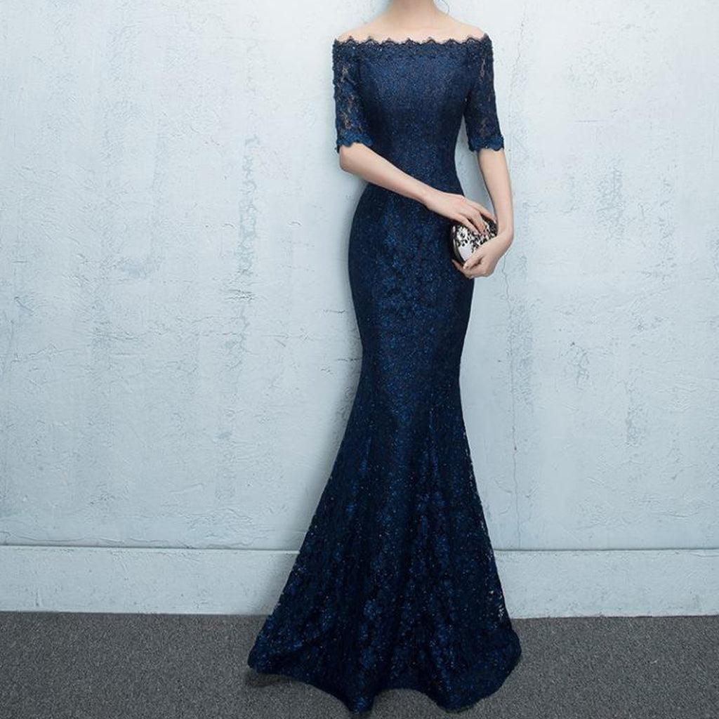 f18dbd6c313 Navy Sparkly Lace Mermaid Beading Half Sleeve Off Shoulder Charming Evening  Prom Dress, PD0203 ...