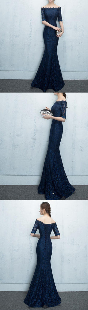 Navy Sparkly Lace Mermaid Beading Half Sleeve Off Shoulder Charming Evening Prom Dress, PD0203