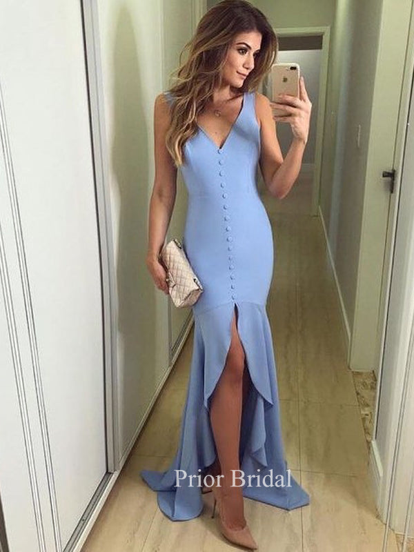 Charming Blue Mermaid Simple Sexy  Prom Dress With Train KB1102