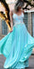Light Blue Spaghetti Straps With Lace Applique Long Prom Dress KB1101