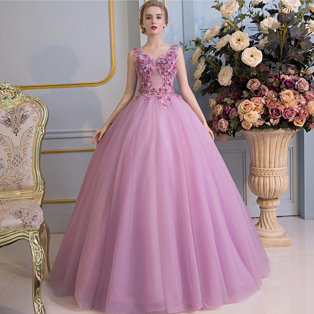 Gowns For Women: Princess Gorgeous Purple Handmade Flowers Lace Up Back