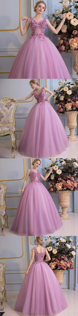 Princess Gorgeous Purple Handmade Flowers Lace Up Back Ball Gown Prom Dresses,PD0159