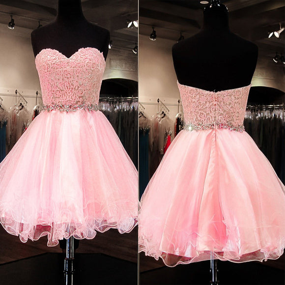 Cute Short A-line Pink Lace Rhinestone Strapless Sweetheart Sash Homecoming Dress, BD00198